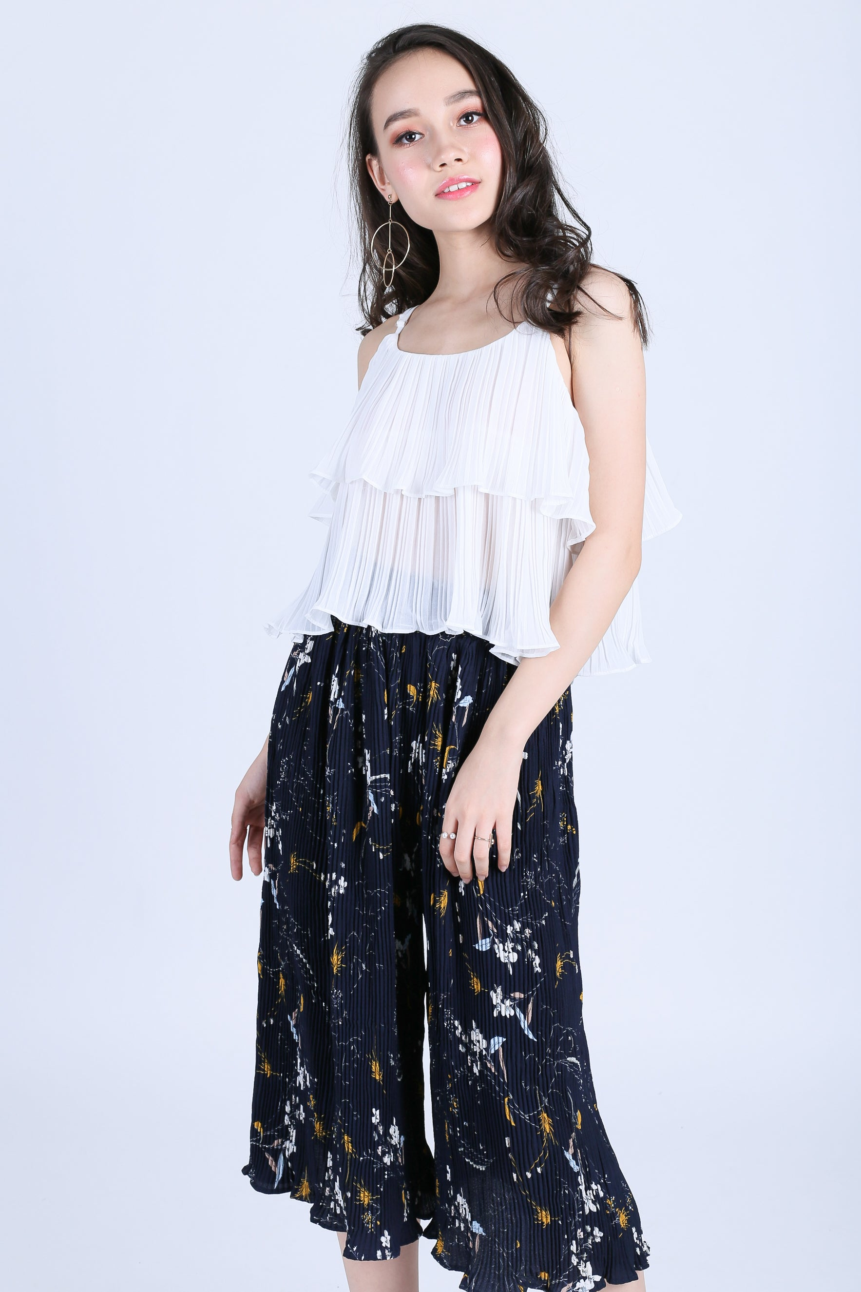 EFFIE CHIFFON SPAG TOP IN WHITE