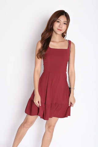 *TPZ* (PREMIUM) QUEZZA SKATER DRESS IN WINE