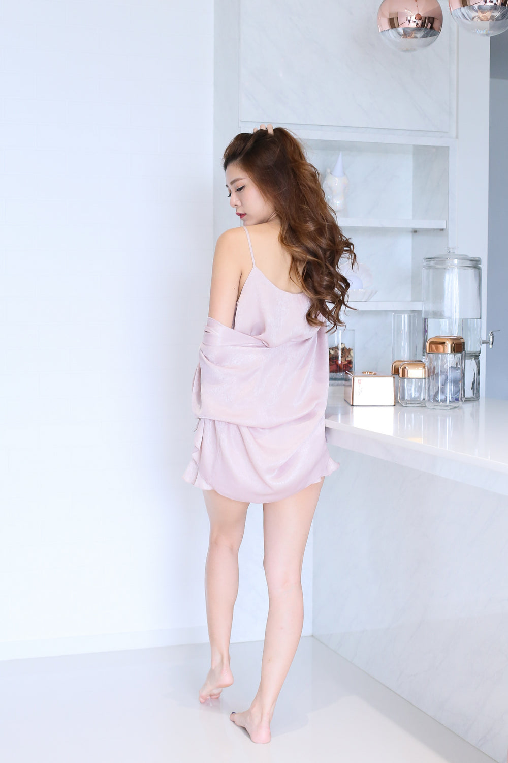 VICTORIA 3 PC SLEEPWEAR SET IN DUSTY PINK