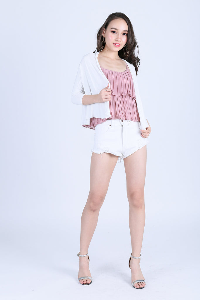 BASIC CROP CARDIGAN IN WHITE - TOPAZETTE