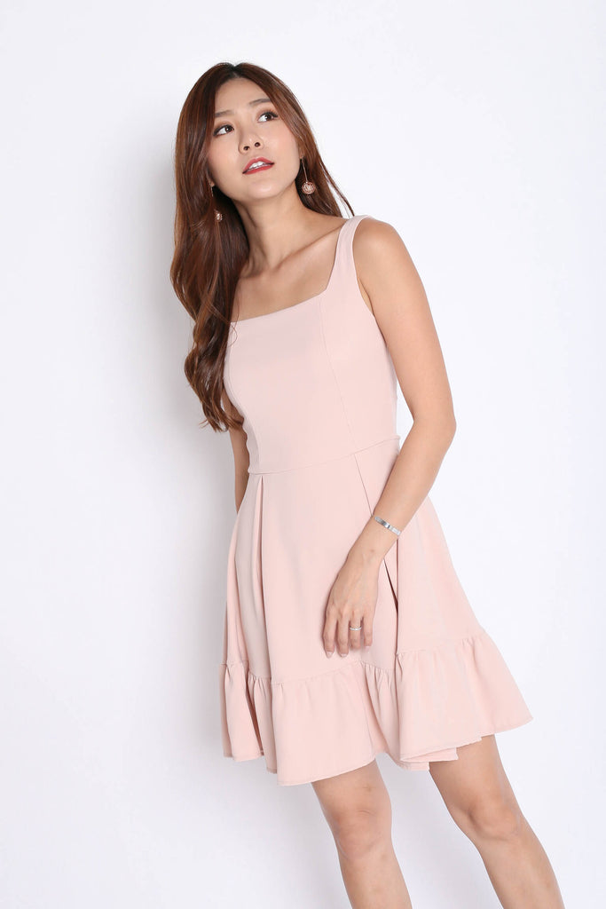 *TPZ* (PREMIUM) QUEZZA SKATER DRESS IN NUDE PINK - TOPAZETTE