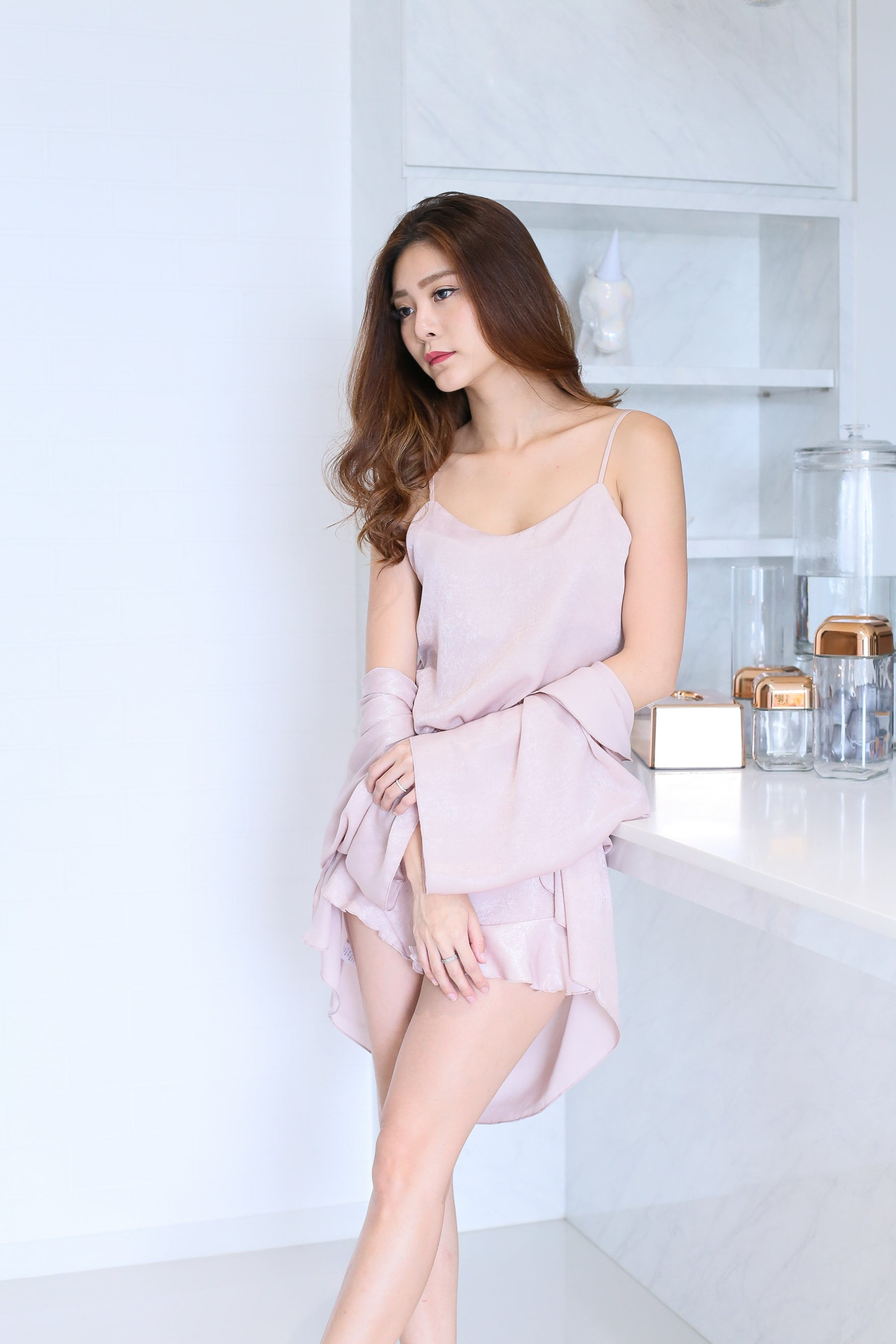 *RESTOCKED* VICTORIA 3 PC SLEEPWEAR SET IN DUSTY PINK