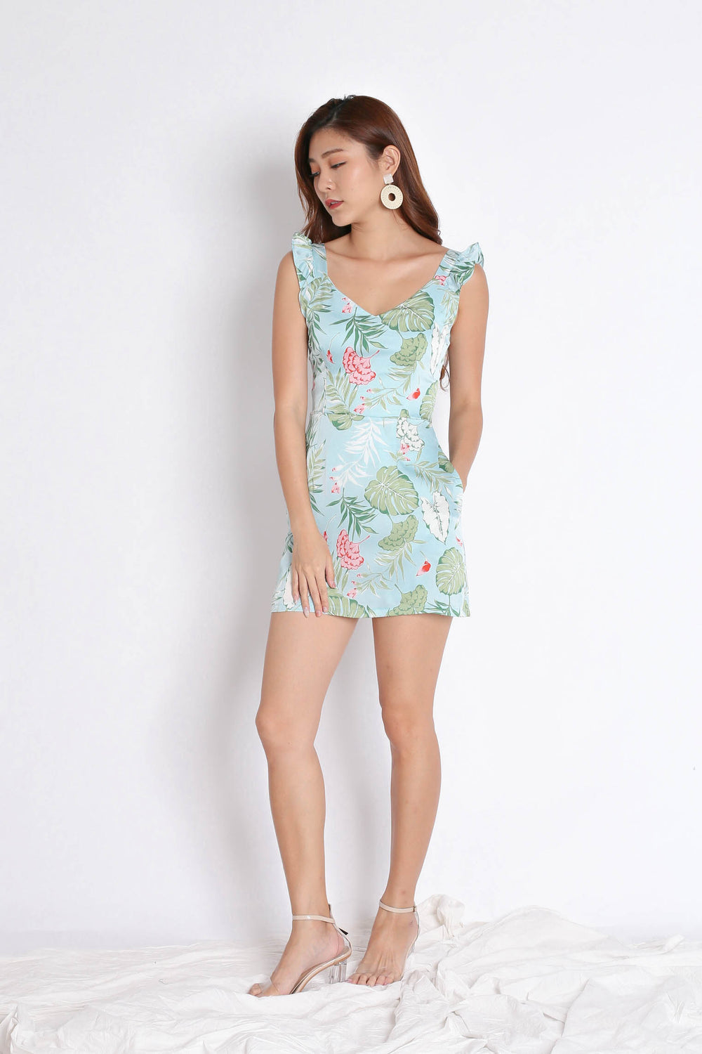 *TPZ* (PREMIUM) SONYA TROPICAL DRESS ROMPER IN MINT