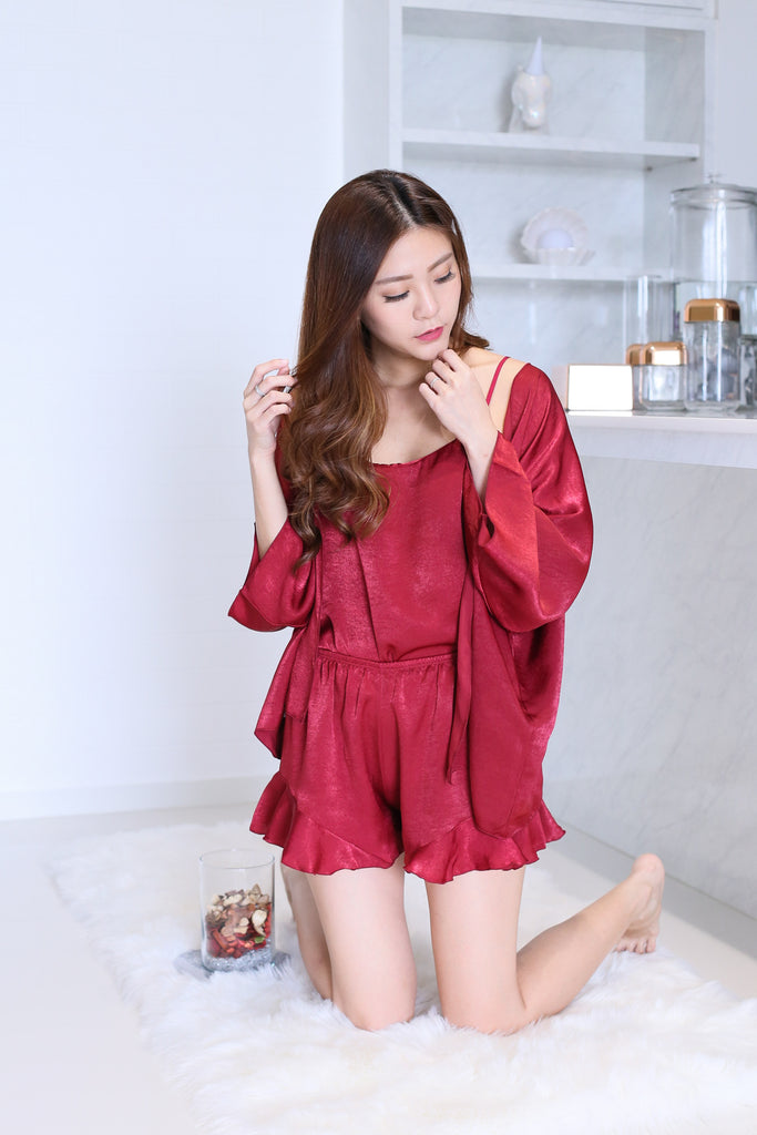 VICTORIA 3 PC SLEEPWEAR SET IN WINE - TOPAZETTE