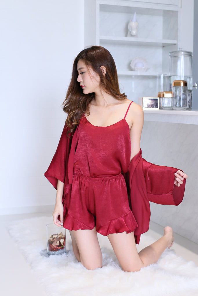 VICTORIA 3 PC SLEEPWEAR SET IN WINE