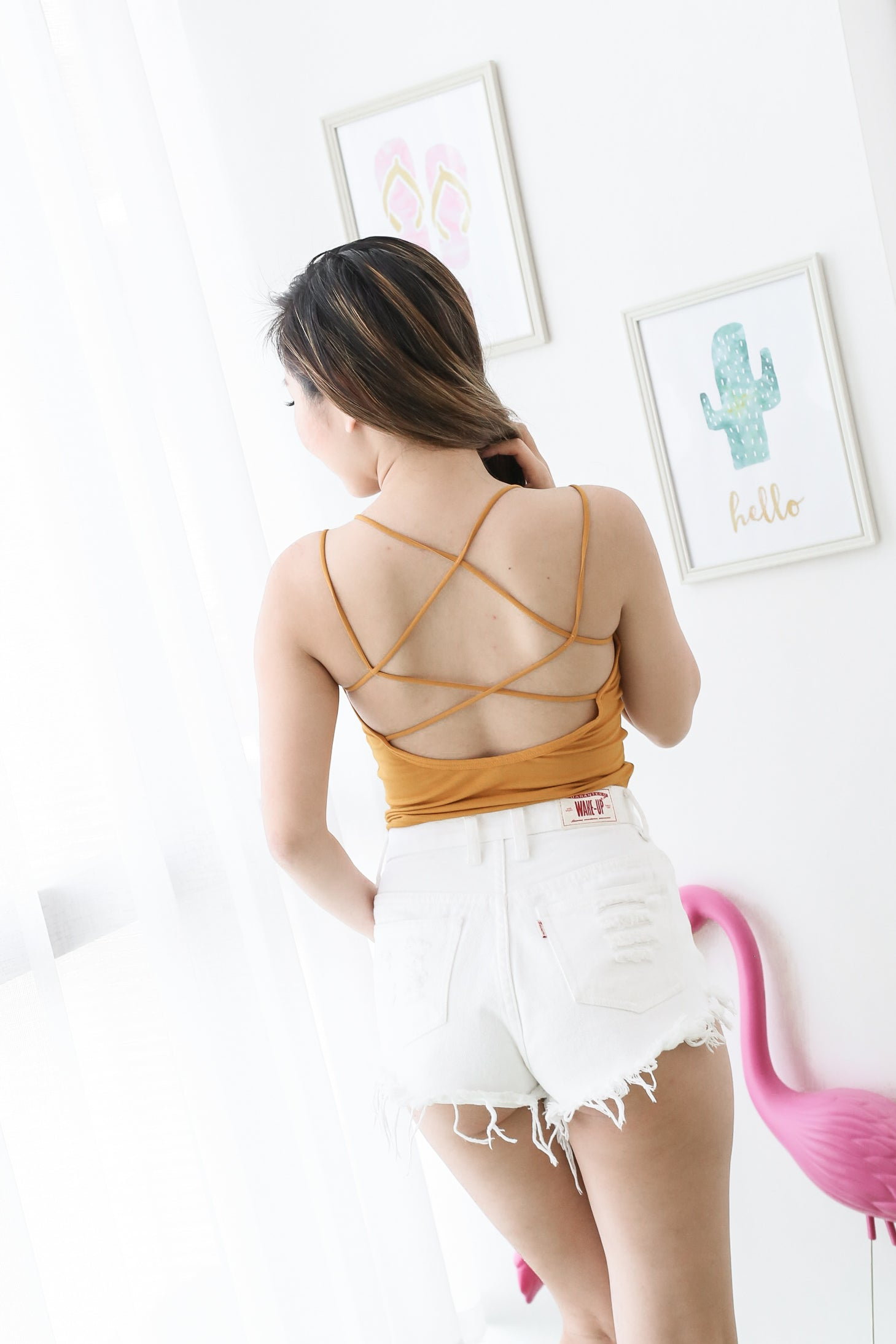 COTTON STRAPPY BRA TOP IN MUSTARD