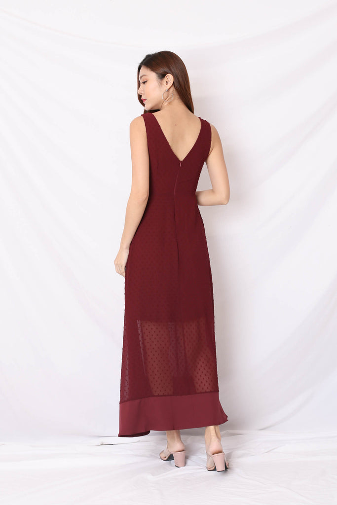 *TPZ* (PREMIUM) JAYN SWISS DOT MAXI IN PLUM