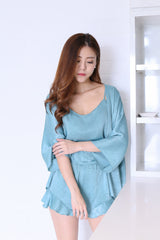 *RESTOCKED* VICTORIA 3 PC SLEEPWEAR SET IN TURQUOISE