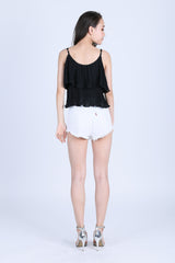 EFFIE CHIFFON SPAG TOP IN BLACK