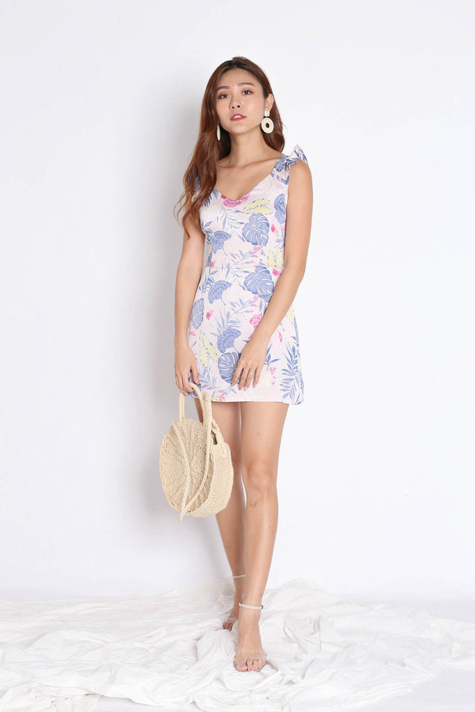 *TPZ* (PREMIUM) SONYA TROPICAL DRESS ROMPER IN DUSTY PINK - TOPAZETTE