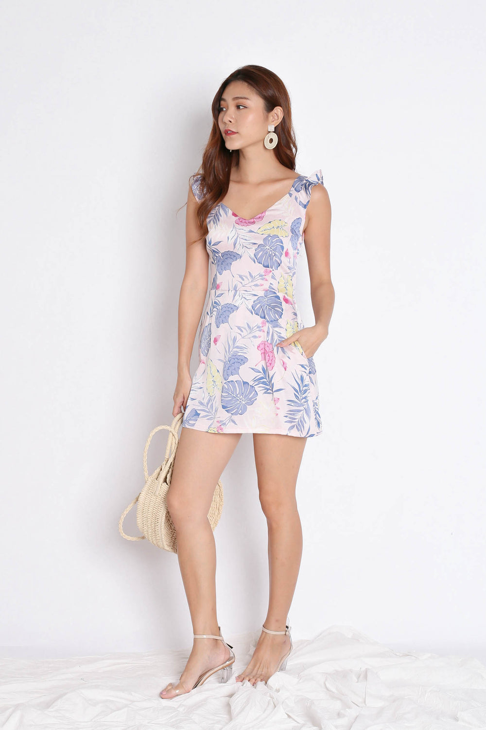 *TPZ* (PREMIUM) SONYA TROPICAL DRESS ROMPER IN DUSTY PINK
