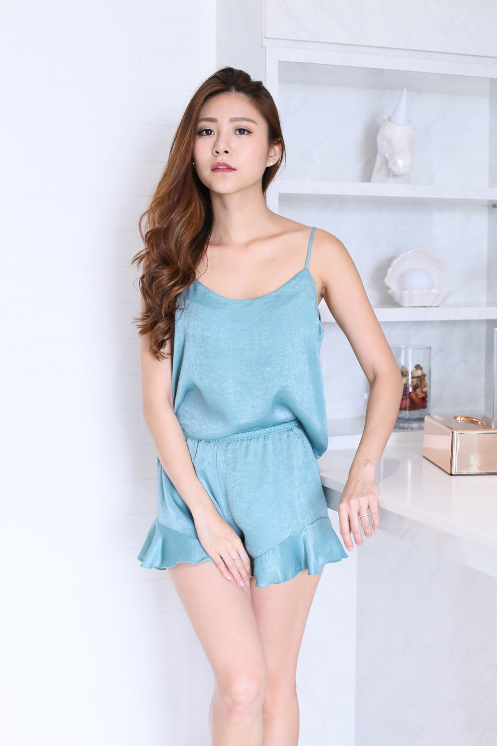 VICTORIA 3 PC SLEEPWEAR SET IN TURQUOISE