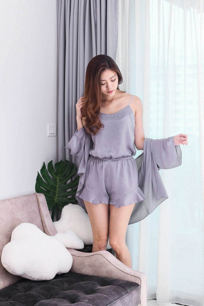 VICTORIA 3 PC SLEEPWEAR SET IN PURPLISH GREY
