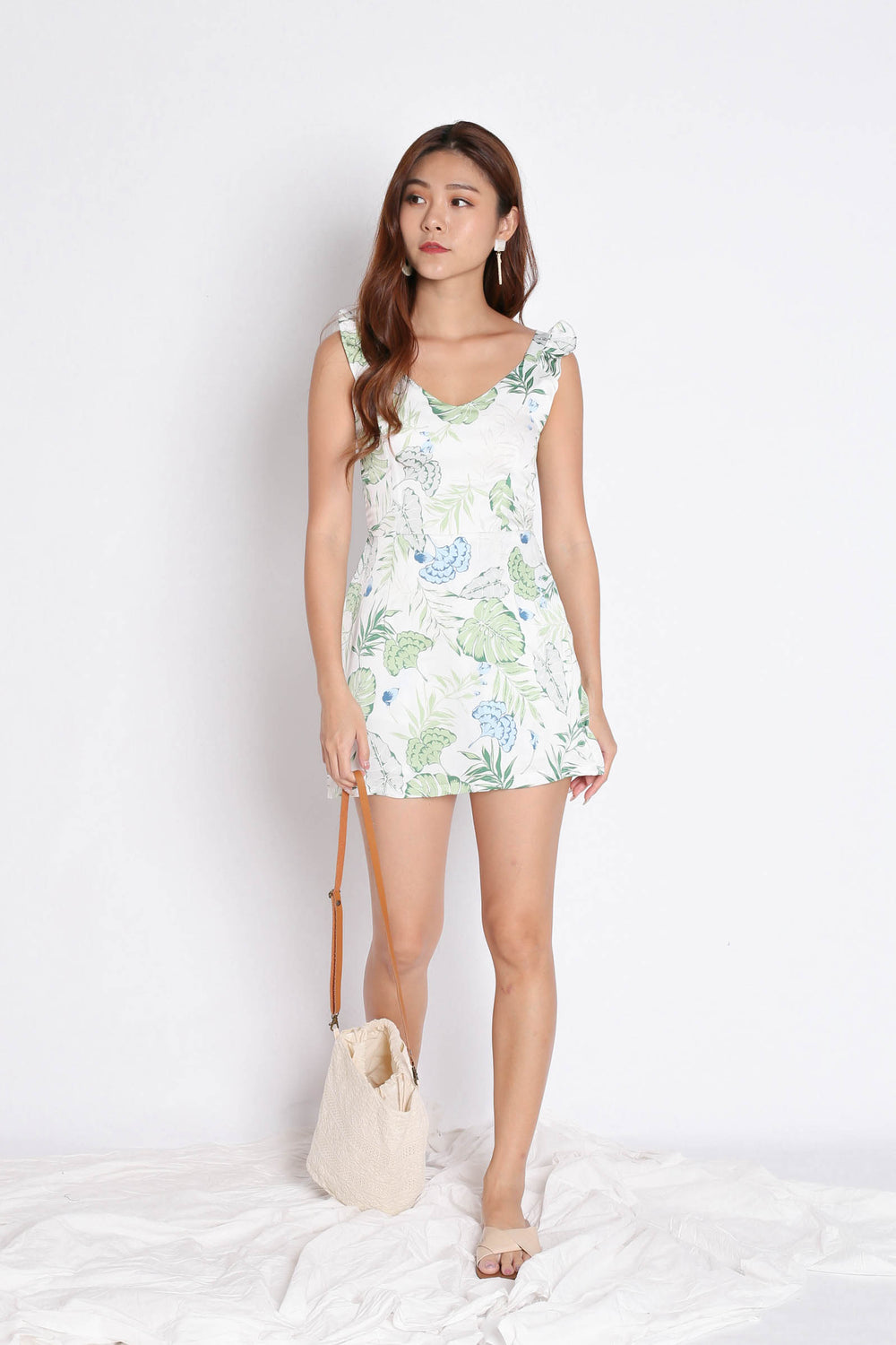 *TPZ* (PREMIUM) SONYA TROPICAL DRESS ROMPER IN WHITE/ GREEN