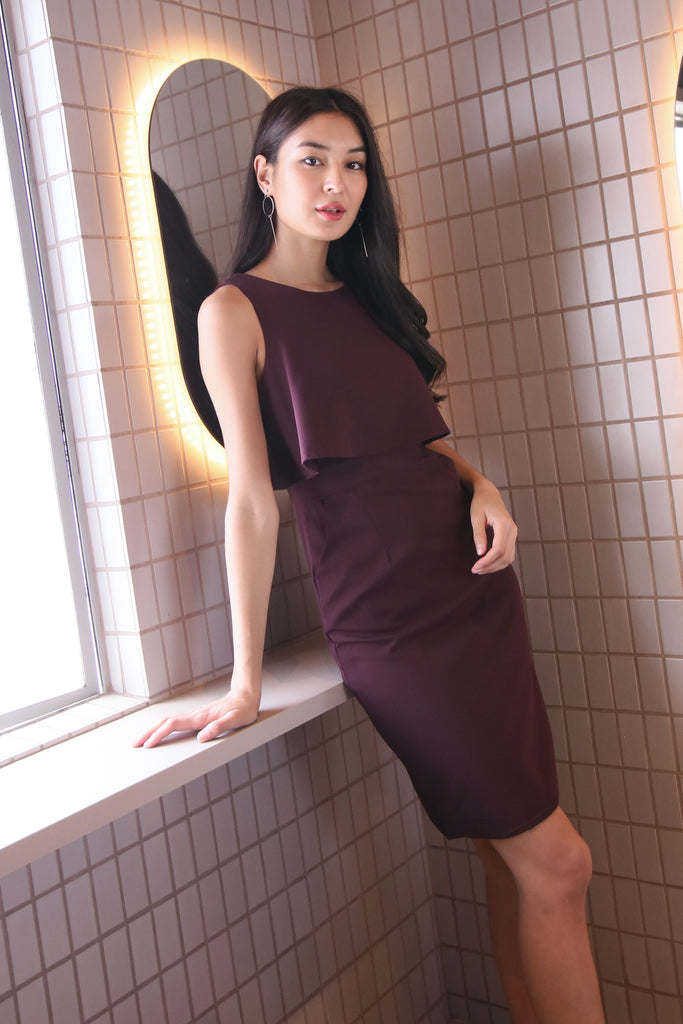 *TPZ* JENCA TIERED DRESS IN PLUM