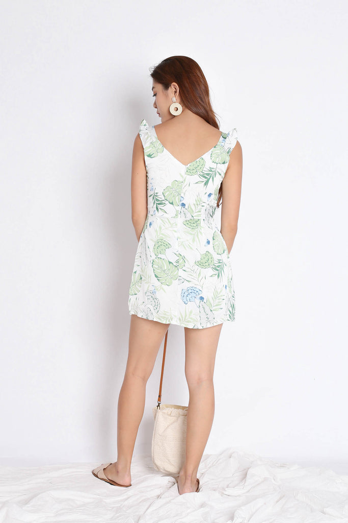 *TPZ* (PREMIUM) SONYA TROPICAL DRESS ROMPER IN WHITE/ GREEN - TOPAZETTE
