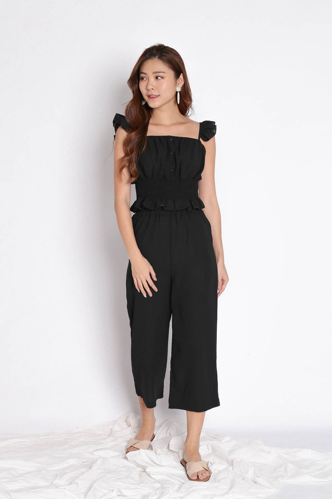 ACILIA 2 PC RUFFLES AND PANTS SET IN BLACK