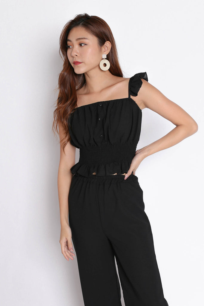 ACILIA 2 PC RUFFLES AND PANTS SET IN BLACK - TOPAZETTE