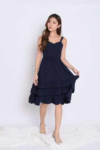 *TPZ* (PREMIUM) YARA SWEETHEART RUFFLES DRESS IN NAVY