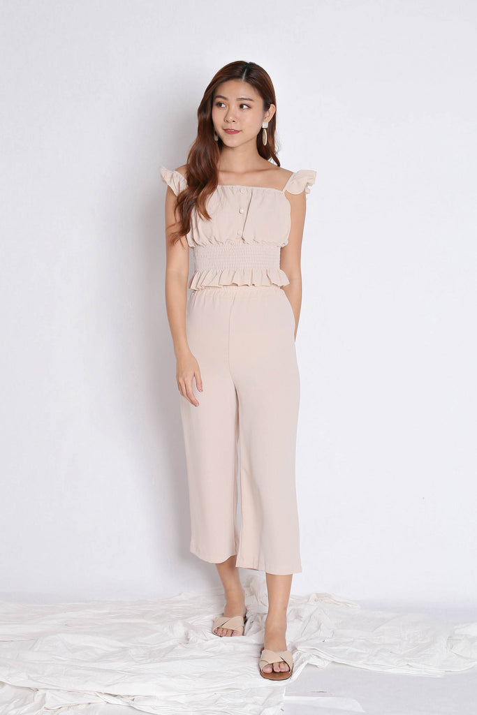 ACILIA 2 PC RUFFLES AND PANTS SET IN SAND BEIGE