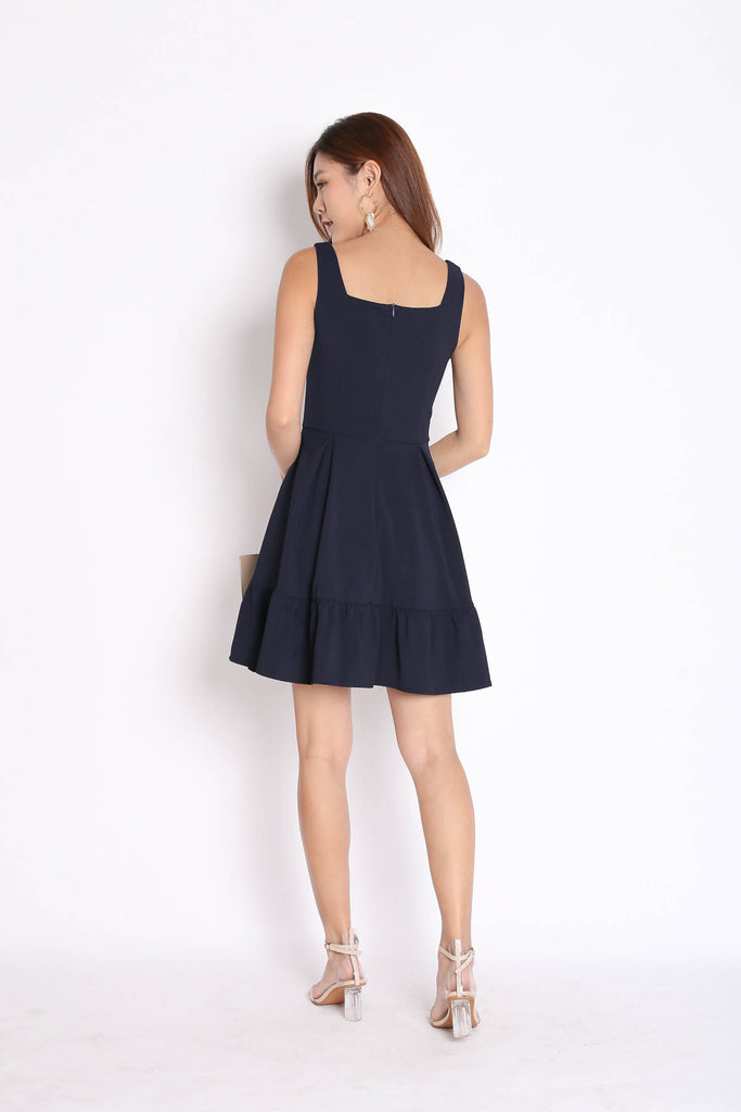 *TPZ* (PREMIUM) QUEZZA SKATER DRESS IN NAVY - TOPAZETTE