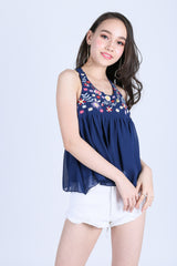 ZENIA EMBROIDERY TOP IN NAVY