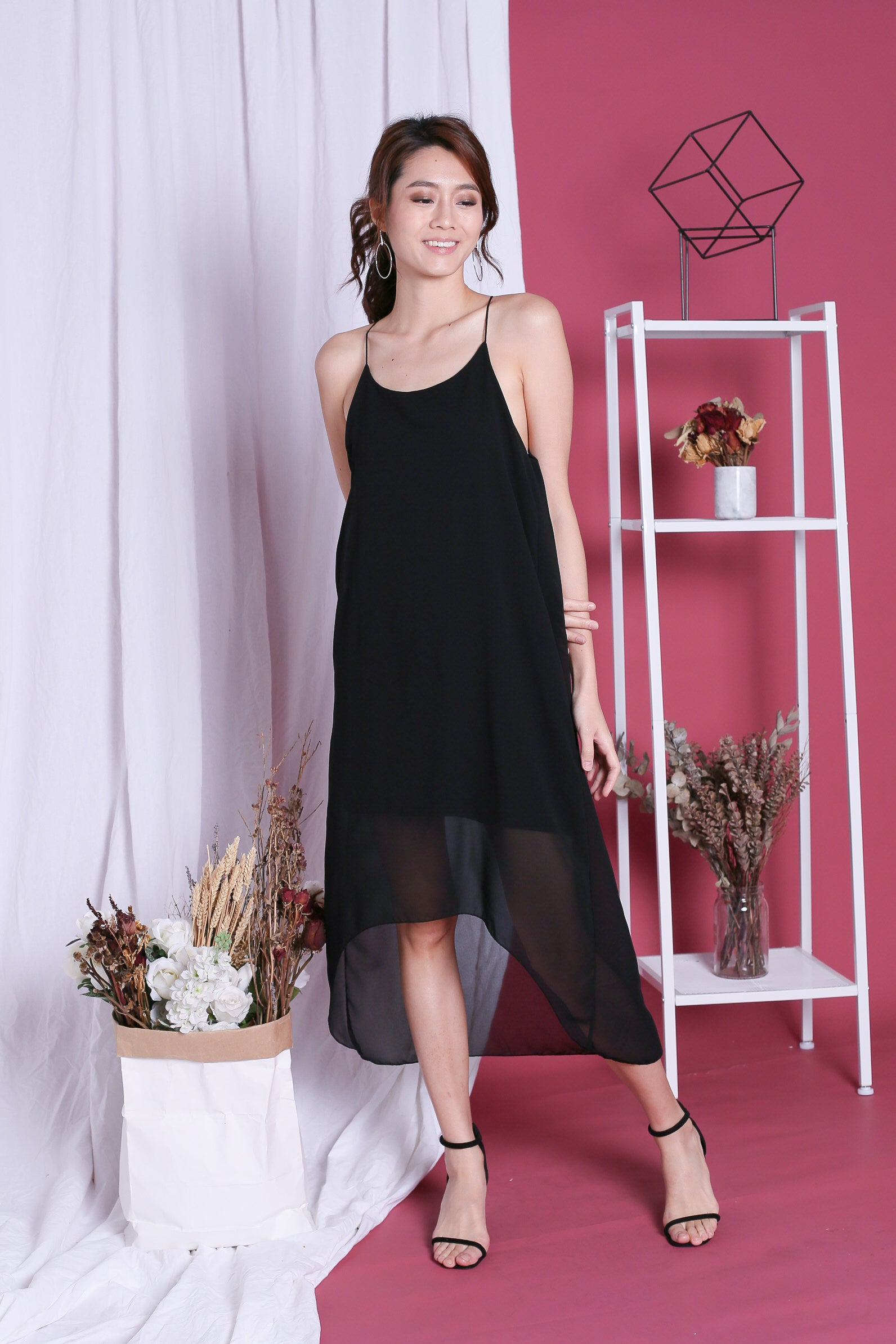 GELICA FLOWY DRESS IN BLACK