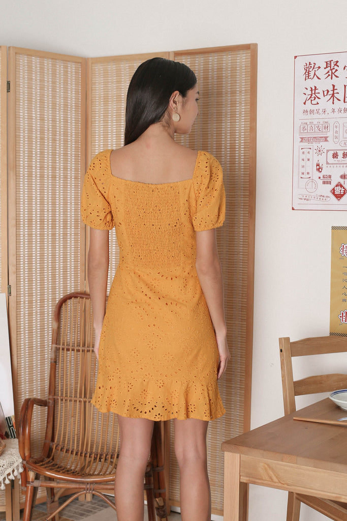 *TPZ* ADRIENA EYELET SMOCKED BACK DRESS IN MARIGOLD