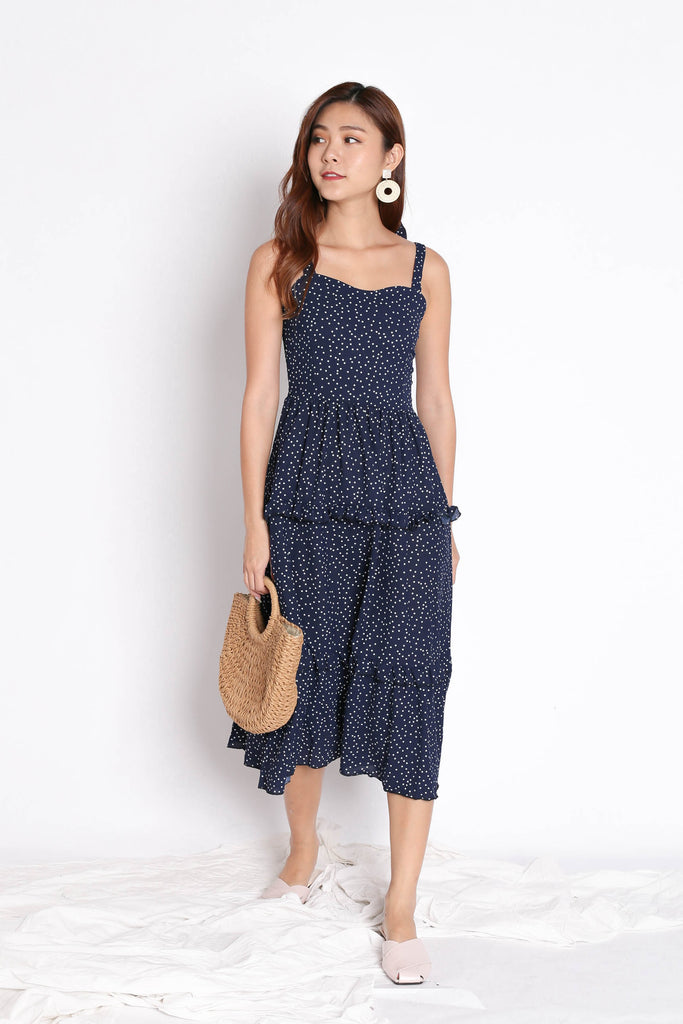 BRIANA POLKA DOT DRESS IN NAVY