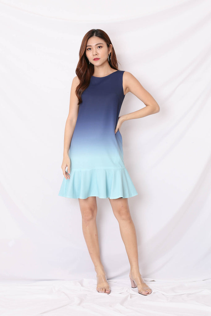 *TPZ* (PREMIUM) ALTHEA OMBRE REVERSIBLE DRESS (MINT/ NAVY)