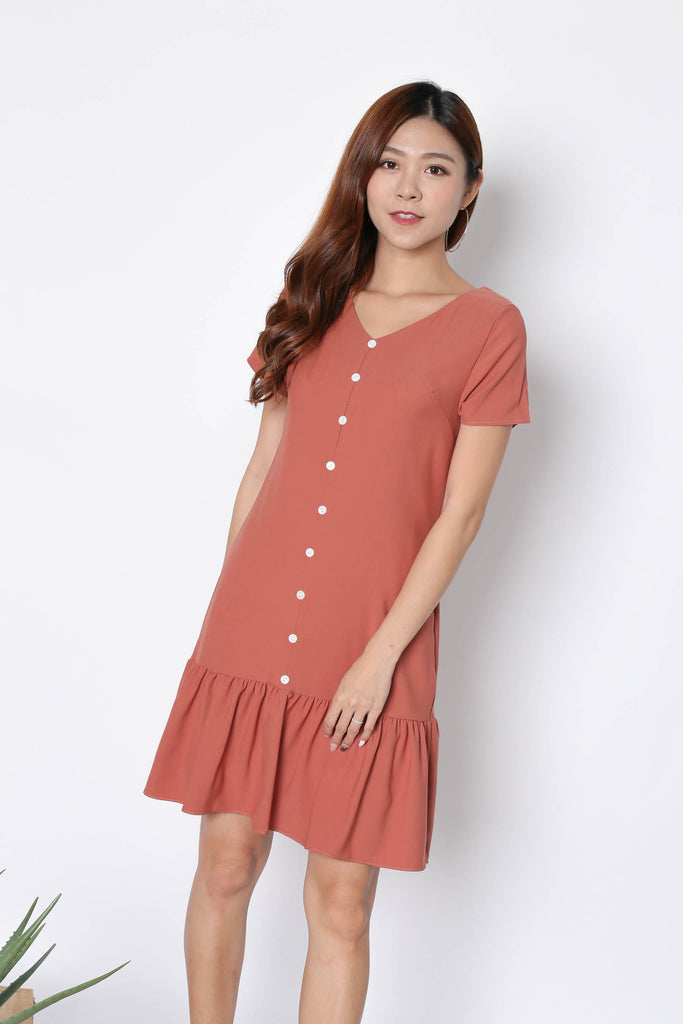 *TPZ* (PREMIUM) KAMMY SLEEVED BUTTON DRESS IN CORAL - TOPAZETTE