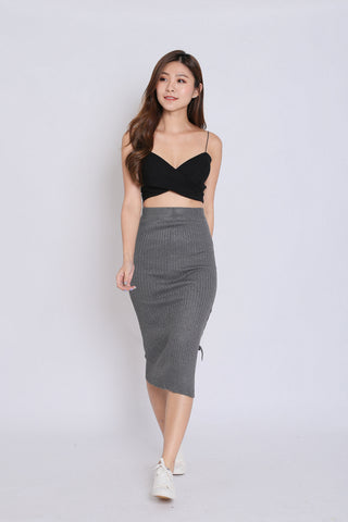 KAX CRISS CROSS KNIT SKIRT IN DARK GREY