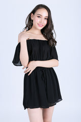 *RESTOCKED* AXIX CHIFFON ROMPER IN BLACK