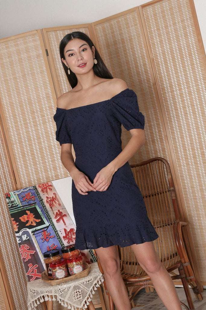 *TPZ* ADRIENA EYELET SMOCKED BACK DRESS IN NAVY