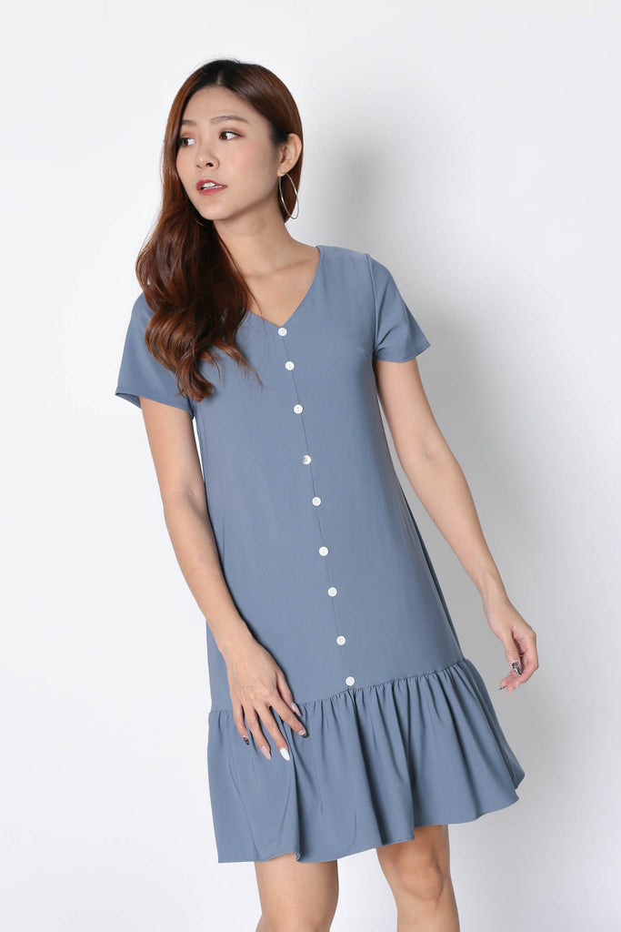 *TPZ* (PREMIUM) KAMMY SLEEVED BUTTON DRESS IN STALE BLUE - TOPAZETTE