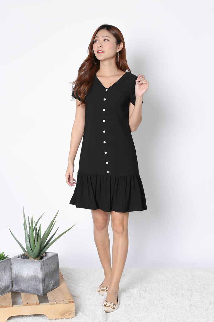 *TPZ* (PREMIUM) KAMMY SLEEVED BUTTON DRESS IN BLACK - TOPAZETTE