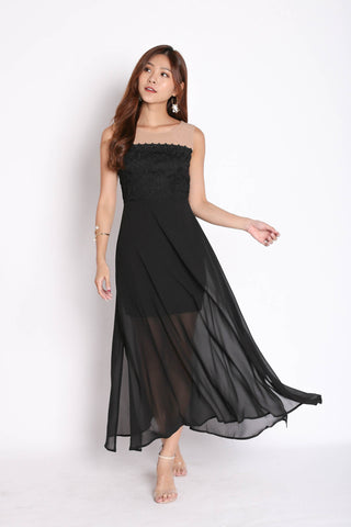 *TPZ* (PREMIUM) UTOPIA MESH CROCHET MAXI IN BLACK