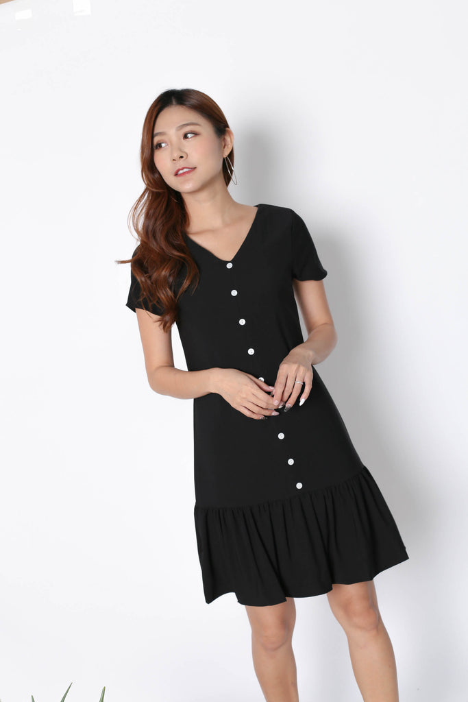 *TPZ* (PREMIUM) KAMMY SLEEVED BUTTON DRESS IN BLACK