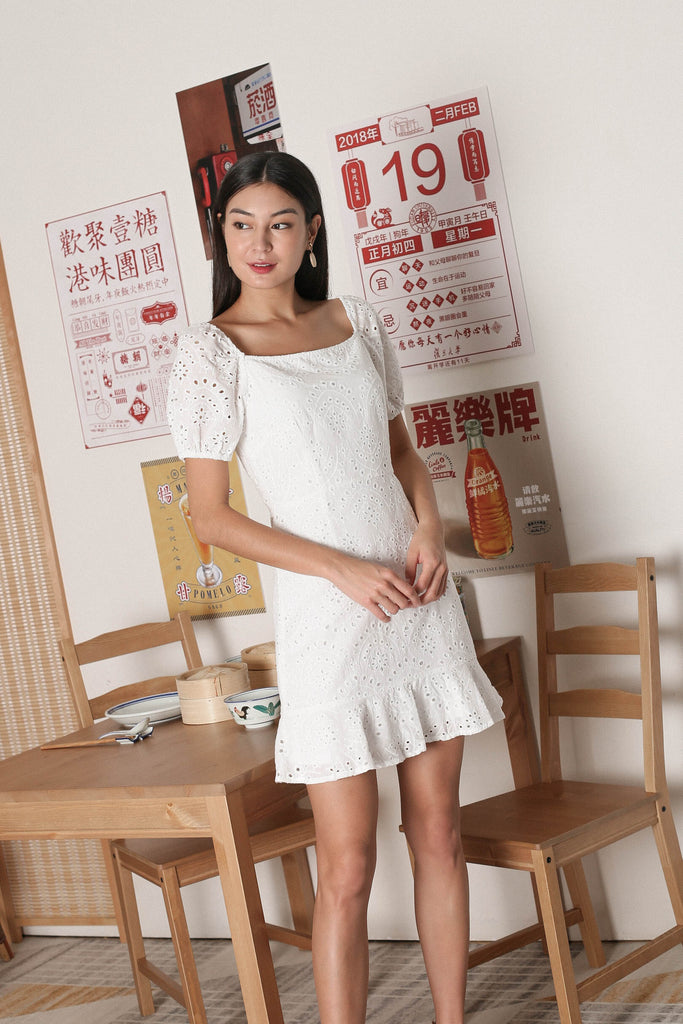 *TPZ* ADRIENA EYELET SMOCKED BACK DRESS IN WHITE