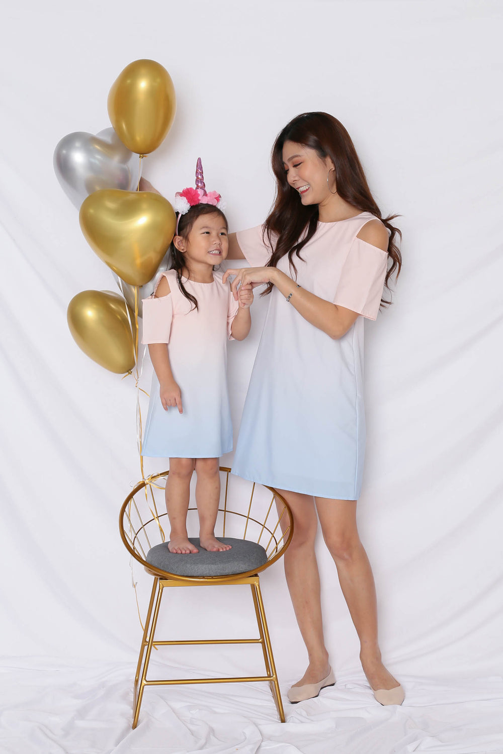 *LITTLE TOPAZETTE* HAPPILY EVER AFTER COLD SHOULDER DRESS (BABY PINK/ BLUE)