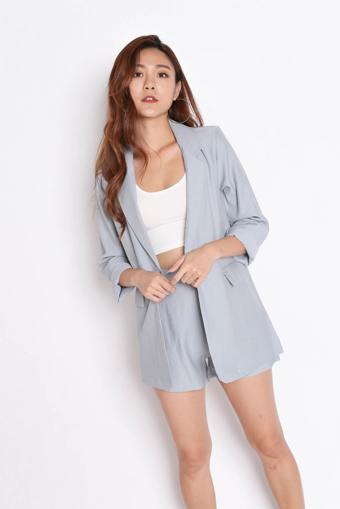 STELLIZ BLAZER AND SHORTS SET IN DUSTY BLUE - TOPAZETTE
