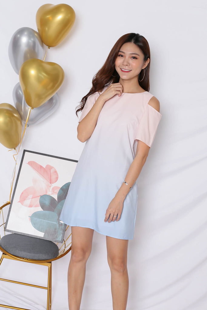 *TPZ* (PREMIUM) HAPPILY EVER AFTER COLD SHOULDER DRESS (BABY PINK/ BLUE) - TOPAZETTE