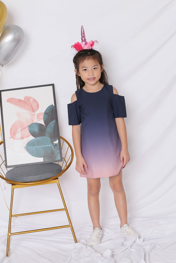 *LITTLE TOPAZETTE* HAPPILY EVER AFTER COLD SHOULDER DRESS (NAVY/ PINK) - TOPAZETTE