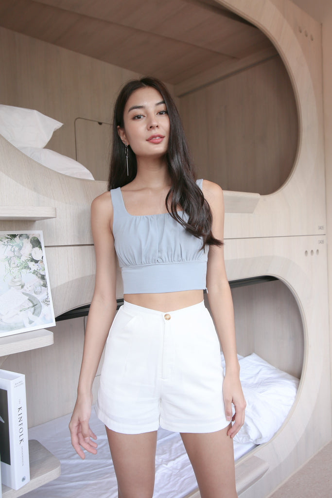 *TPZ* GISELLE RUCHED TOP IN SKY BLUE