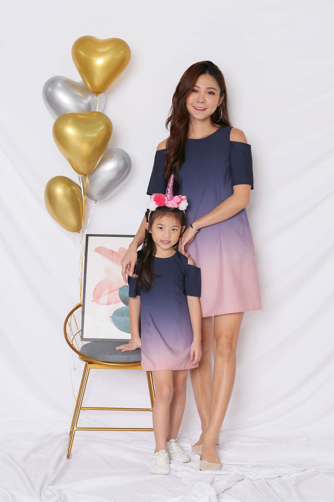 *LITTLE TOPAZETTE* HAPPILY EVER AFTER COLD SHOULDER DRESS (NAVY/ PINK)