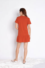 *BACKORDER* BASIC COTTON DROP WAIST DRESS IN TERRACOTTA