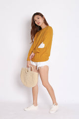 HEARTS ON SLEEVES KNIT TOP IN MUSTARD