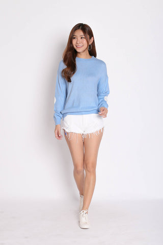 HEARTS ON SLEEVES KNIT TOP IN BABY BLUE