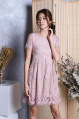 *TOPAZ* (PREMIUM) LIV VICTORIAN SLEEVED LACE DRESS IN DUSTY PINK