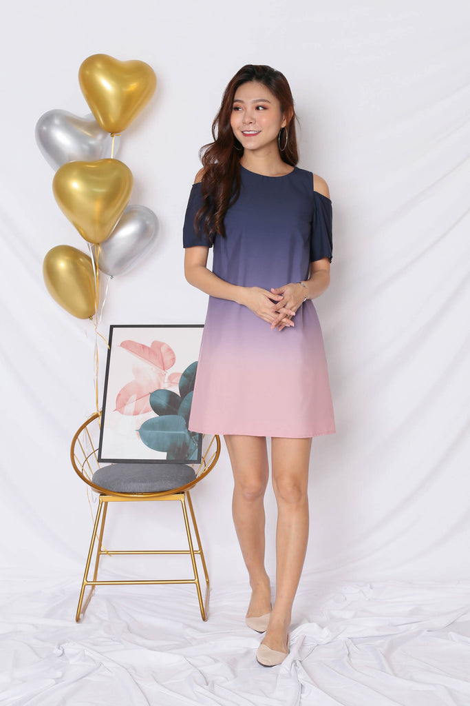 *TPZ* (PREMIUM) HAPPILY EVER AFTER COLD SHOULDER DRESS (NAVY/ PINK) - TOPAZETTE